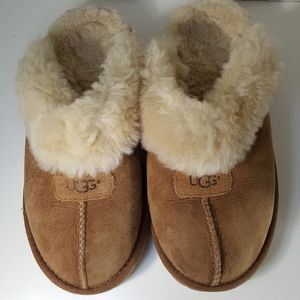 UGG Leather Tan Fur Slippers Size:5